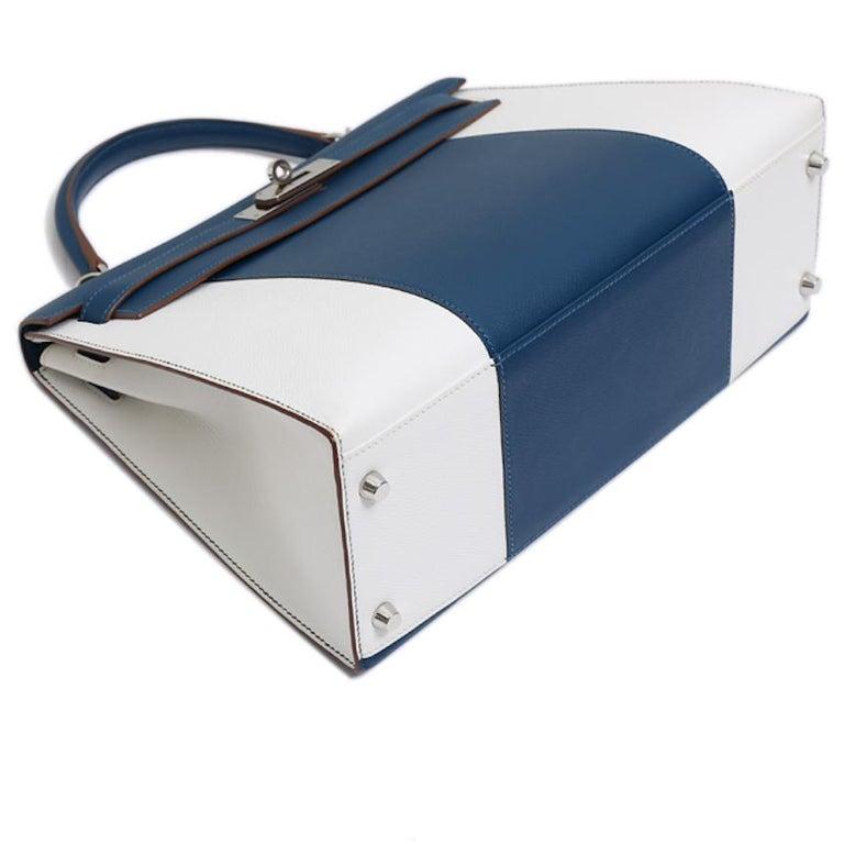 Hermes Kelly 32 Special Edition Blue White Top Handle Satchel Shoulder Tote Bag  For Sale 3