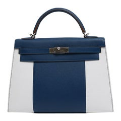 Hermes Kelly 32 Special Edition Blue White Top Handle Satchel Shoulder Tote Bag