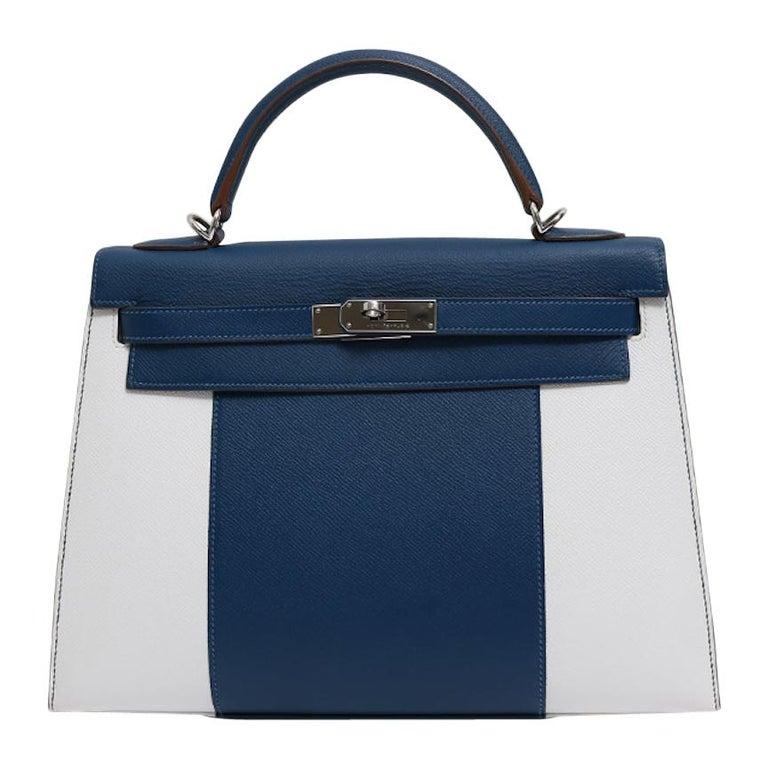 Hermes Kelly 32 Special Edition Blue White Top Handle Satchel Shoulder Tote Bag  For Sale