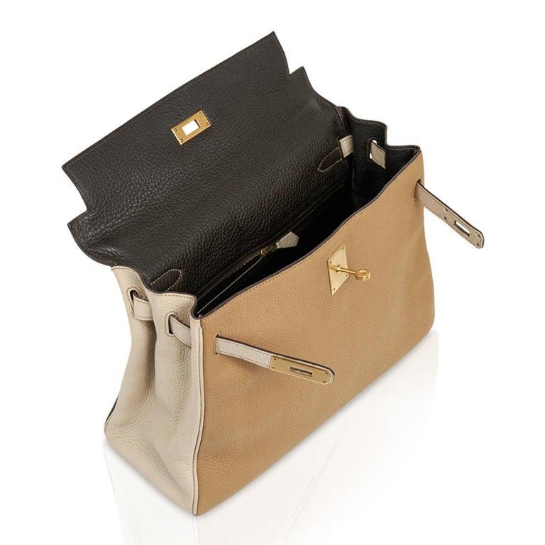Hermes Kelly 32 Tri-Color Bag Tabac Camel/Ebene/Parchemin Brushed Gold Hardware  For Sale 5