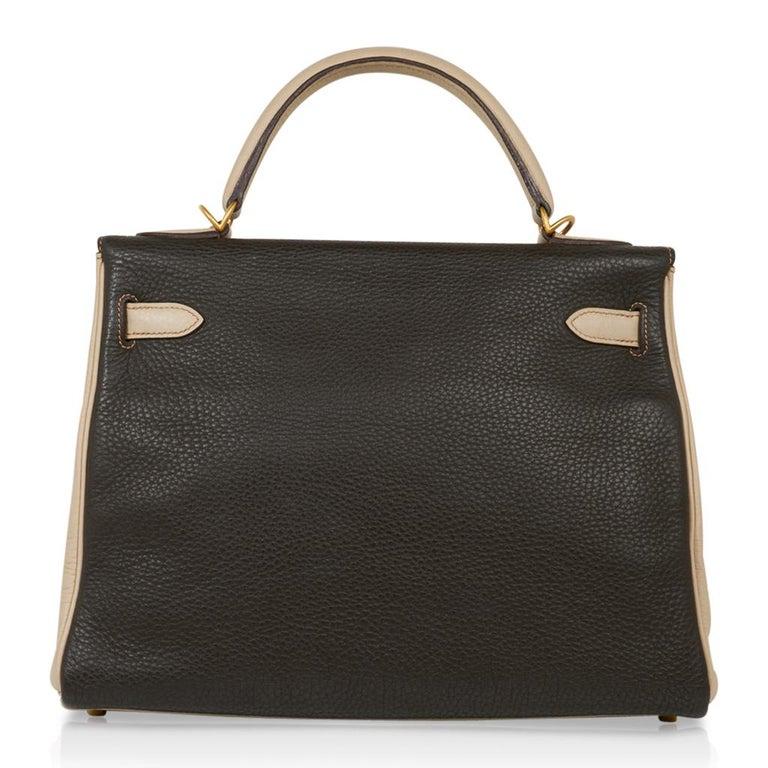 Hermes Kelly 32 Tri-Color Bag Tabac Camel/Ebene/Parchemin Brushed Gold Hardware  For Sale 7