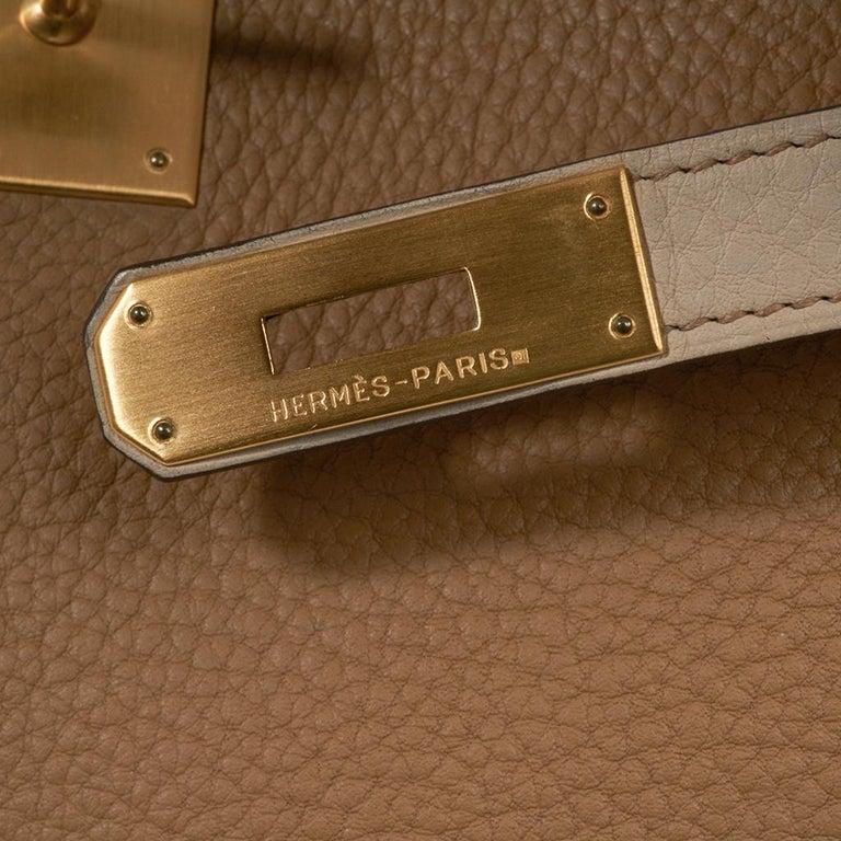 Brown Hermes Kelly 32 Tri-Color Bag Tabac Camel/Ebene/Parchemin Brushed Gold Hardware  For Sale