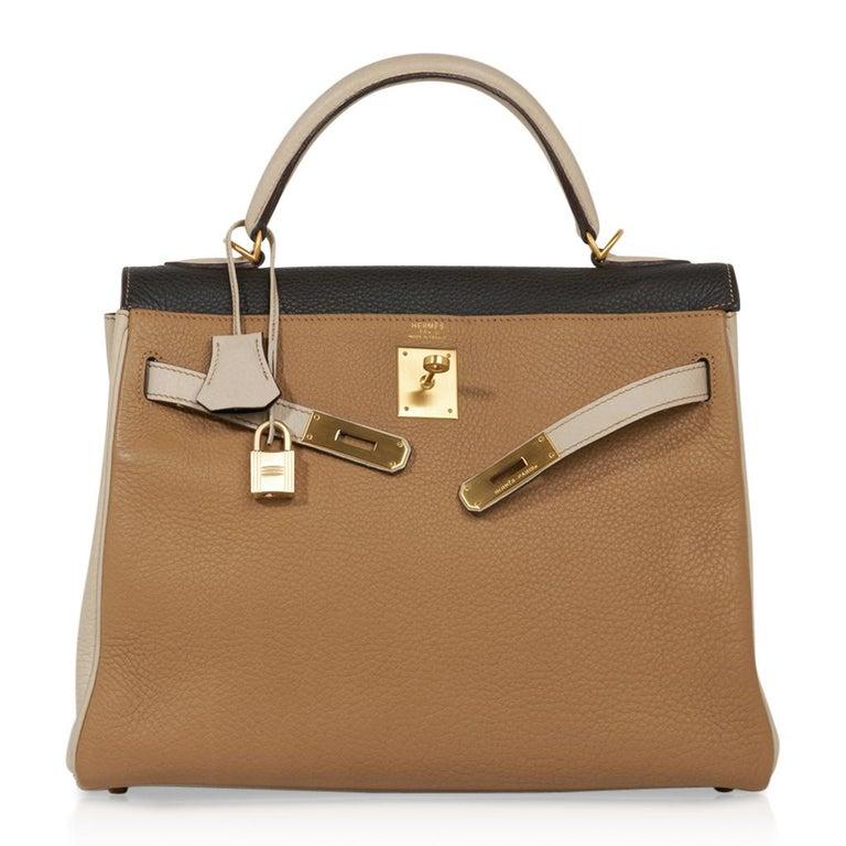 Hermes Kelly 32 Tri-Color Bag Tabac Camel/Ebene/Parchemin Brushed Gold Hardware  For Sale 3