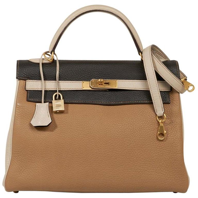 Hermes Kelly 32 Tri-Color Bag Tabac Camel/Ebene/Parchemin Brushed Gold Hardware  For Sale