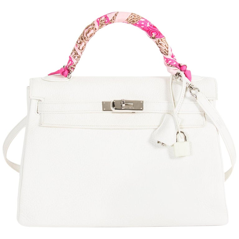 ed7e44b48024 Hermès Kelly 32 White Clemence Taurillon PHW For Sale at 1stdibs
