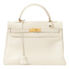 Hermes Kelly 32 White Leather Bag