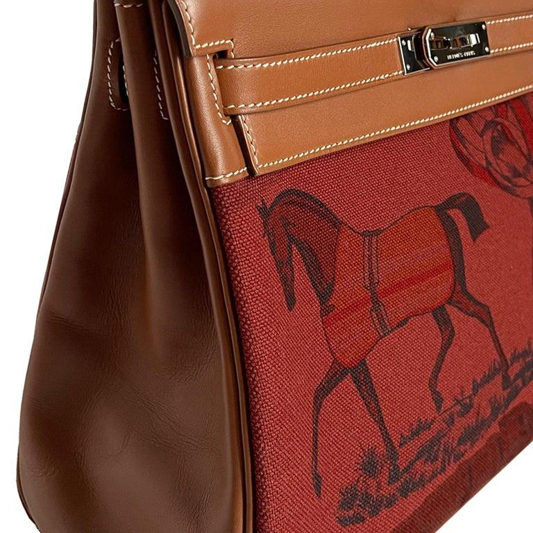 Hermès Kelly 32cm Amazon Fauve Barenia Palladium Horse Motif Hardware For Sale 6