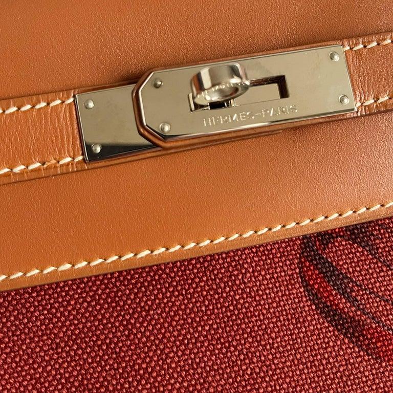 Brown Hermès Kelly 32cm Amazon Fauve Barenia Palladium Horse Motif Hardware For Sale