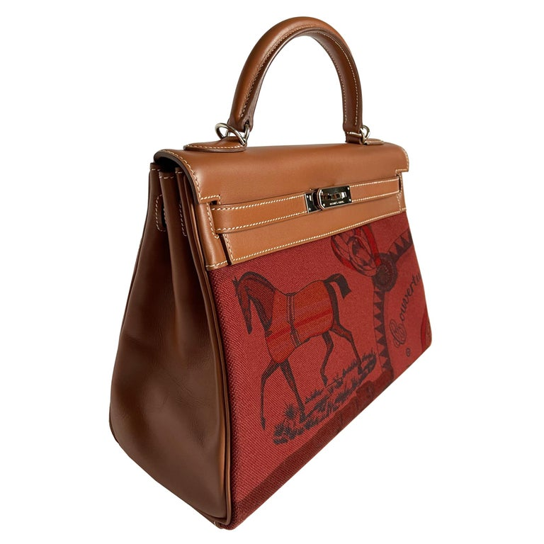 Hermès Kelly 32cm Amazon Fauve Barenia Palladium Horse Motif Hardware In Excellent Condition For Sale In Sydney, New South Wales