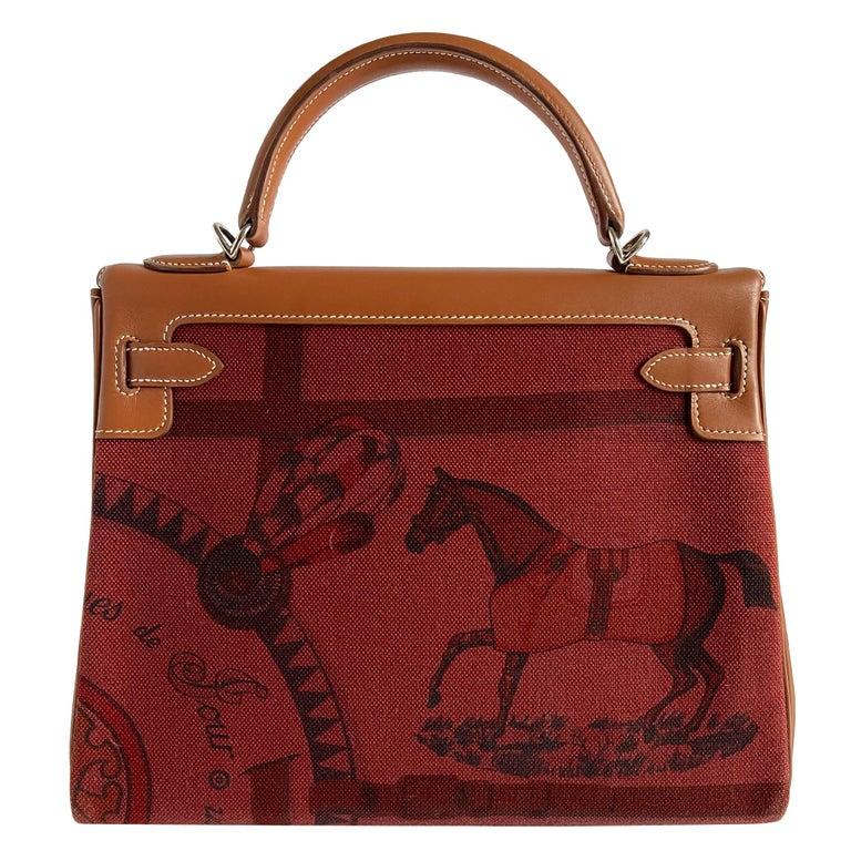 Women's or Men's Hermès Kelly 32cm Amazon Fauve Barenia Palladium Horse Motif Hardware For Sale