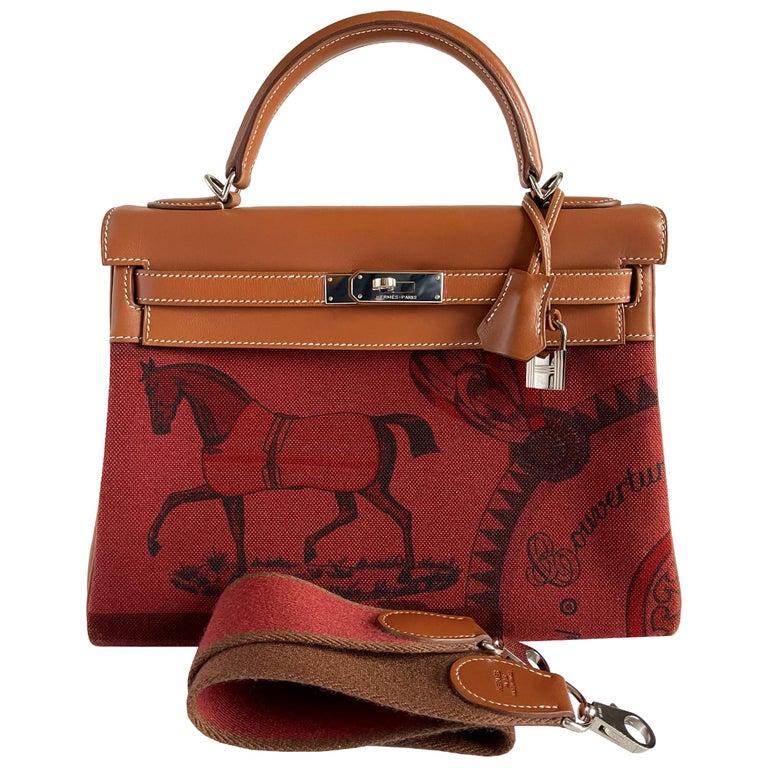 Hermès Kelly 32cm Amazon Fauve Barenia Palladium Horse Motif Hardware For Sale