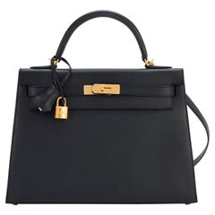 Hermes Kelly 32cm Black Epsom Sellier Gold Hardware Shoulder Bag