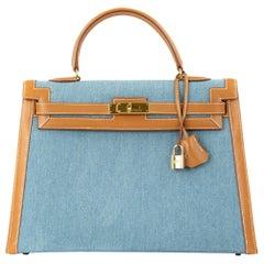 Hermes Kelly 32cm Blue Denim With Barenia GHW (need price)