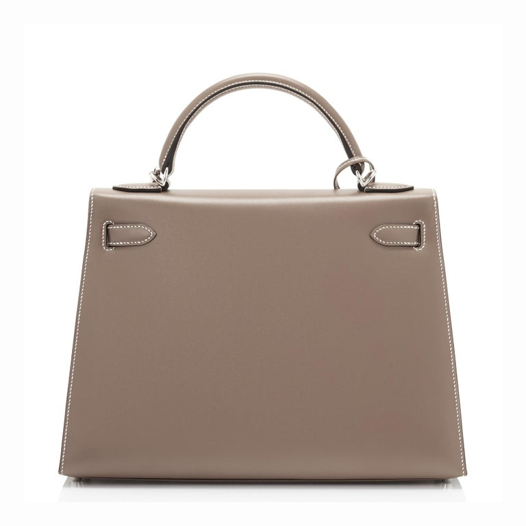 Hermes Kelly 32cm Etoupe Sellier Shoulder Bag Palladium Hardware D Stamp, 2019 In New Condition For Sale In New York, NY