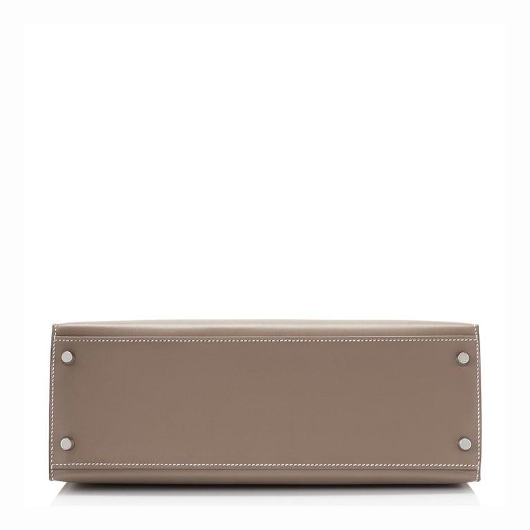 Hermes Kelly 32cm Etoupe Sellier Shoulder Bag Palladium Hardware D Stamp, 2019 For Sale 1
