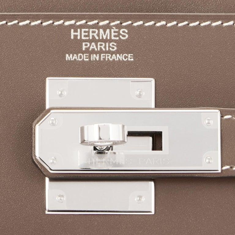 Hermes Kelly 32cm Etoupe Sellier Shoulder Bag Palladium Hardware D Stamp, 2019 For Sale 2