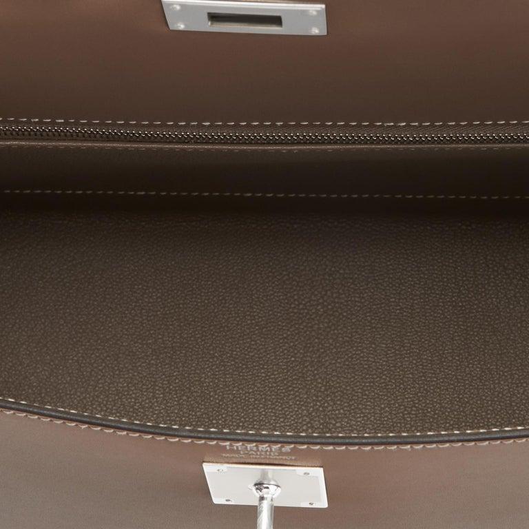 Hermes Kelly 32cm Etoupe Sellier Shoulder Bag Palladium Hardware D Stamp, 2019 For Sale 3