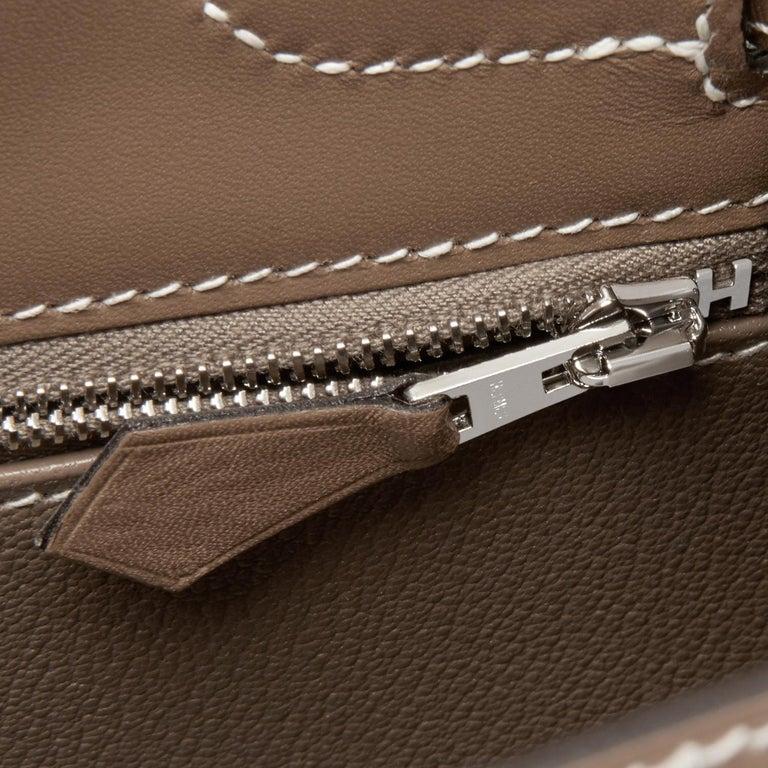 Hermes Kelly 32cm Etoupe Sellier Shoulder Bag Palladium Hardware D Stamp, 2019 For Sale 4