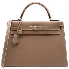 Hermes Kelly 32cm Etoupe Togo Leather Bag