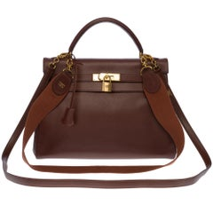 Hermès Kelly 32cm handbag with 2 straps in brown epsom leather and GHW