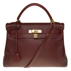 Hermès Kelly 32cm handbag with strap in brown Mysore Goat leather and GHW