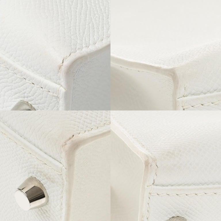 Hermès Kelly 32cm handbag with strap in white epsom leather, Palladium hardware For Sale 6
