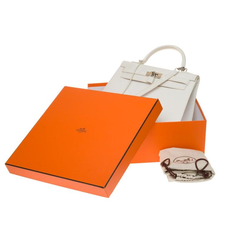 Hermès Kelly 32cm handbag with strap in white epsom leather, Palladium hardware For Sale 7
