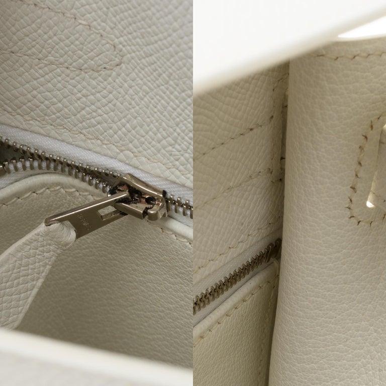 Hermès Kelly 32cm handbag with strap in white epsom leather, Palladium hardware For Sale 2