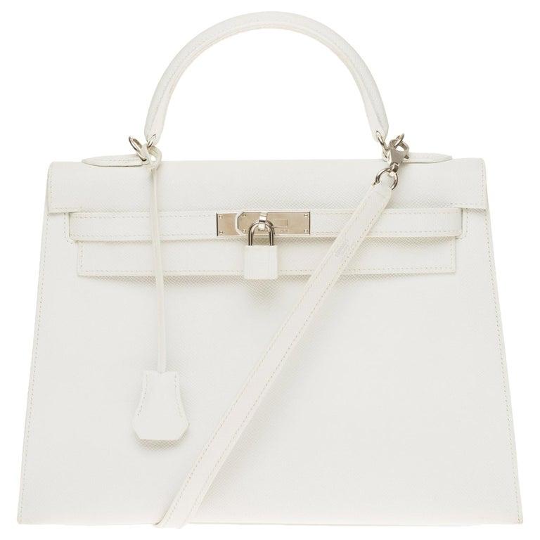 Hermès Kelly 32cm handbag with strap in white epsom leather, Palladium hardware For Sale
