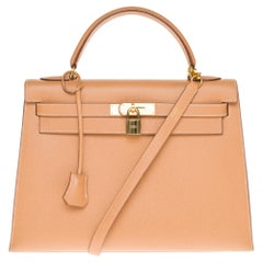 Hermès Kelly 32cm sellier handbag with strap in gold courchevel leather, GHW