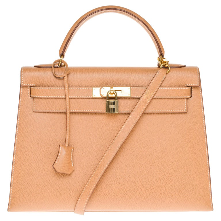 Hermès Kelly 32cm sellier handbag with strap in gold courchevel leather, GHW For Sale