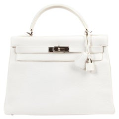 Hermès Kelly 32cm White / Blanc Taurillon Clemence leather PHW