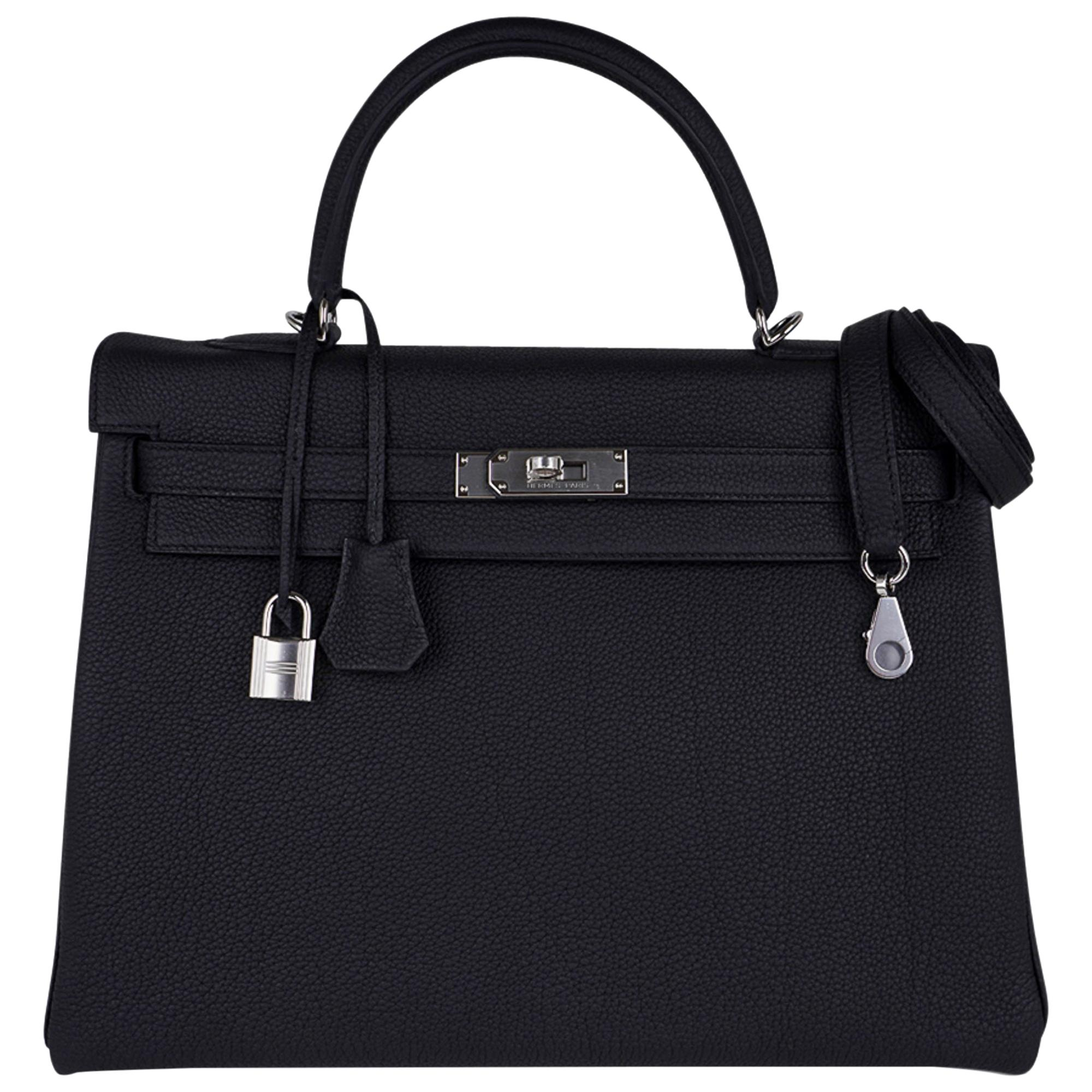 Hermes Kelly 35 Bag Black Retourne Togo Palladium Hardware New