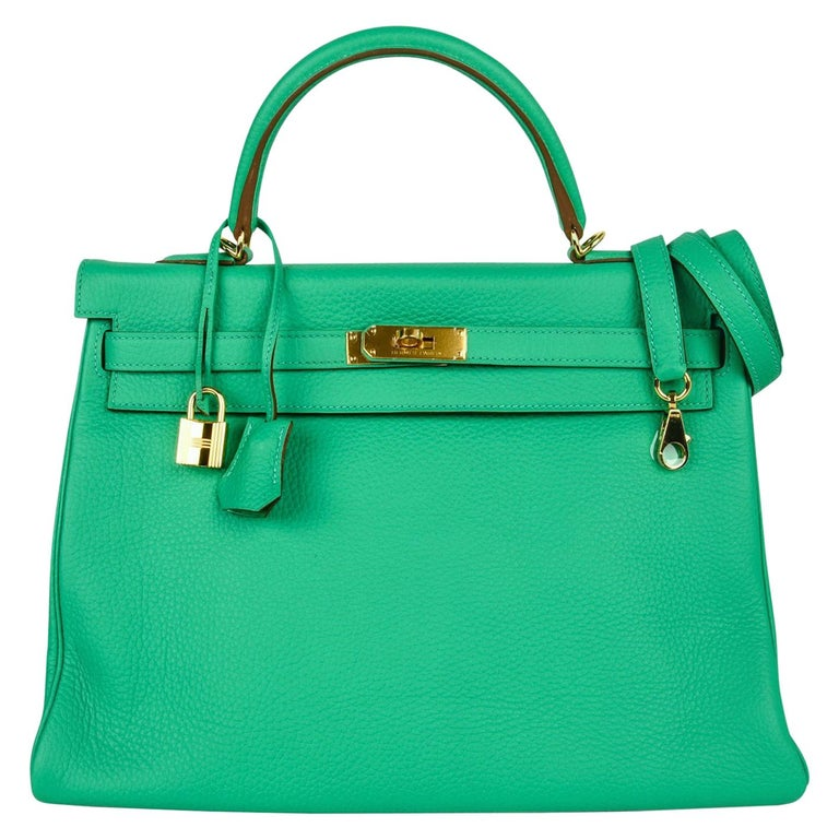 Hermes Kelly 35 Bag Menthe Fresh Green Retourne Gold Hardware   For Sale
