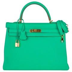 Hermes Kelly 35 Bag Menthe Fresh Green Retourne Gold Hardware
