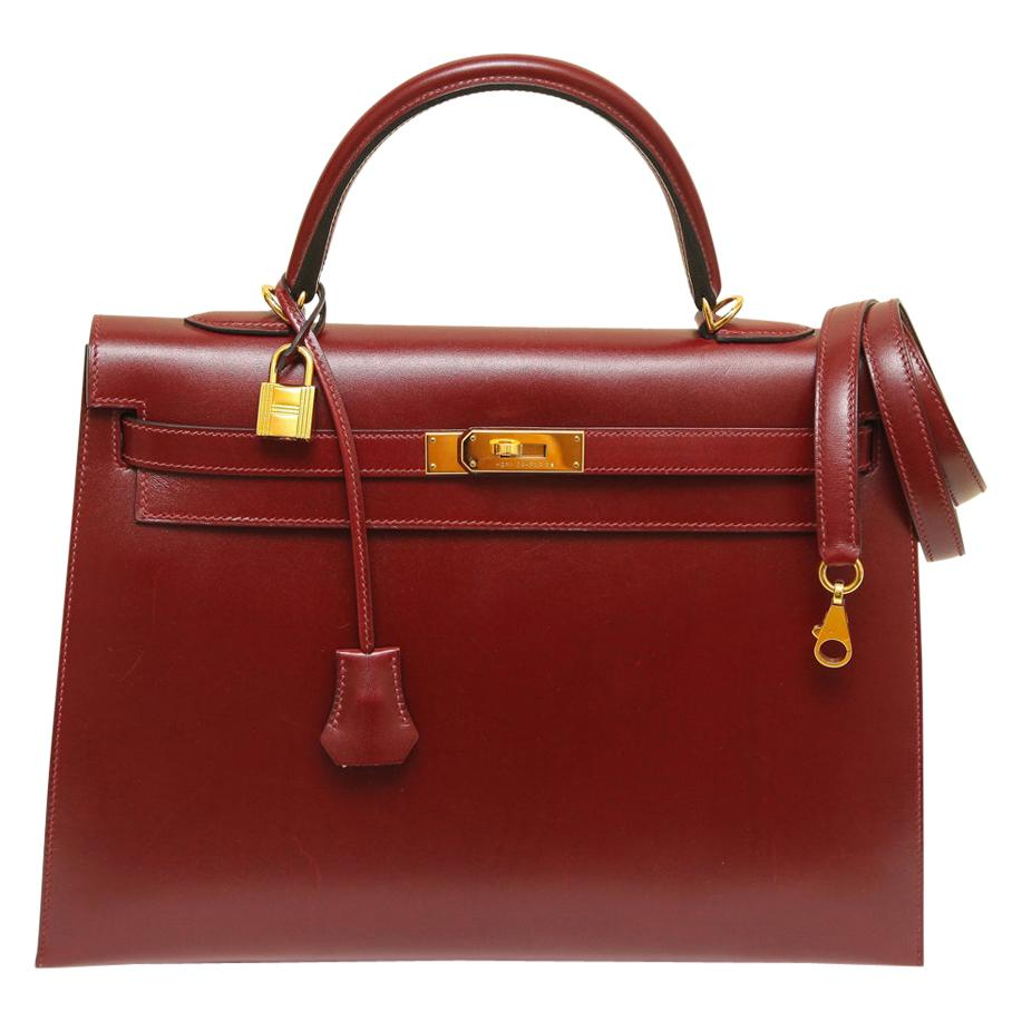 Hermes Kelly 35 Bag Rouge H Sellier Box Gold Hardware