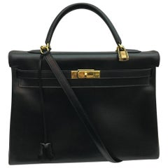 Hermes Kelly 35 Black Box Leather Bag