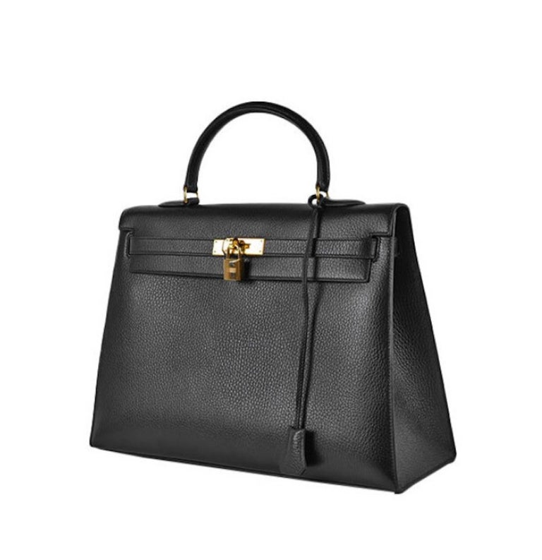Hermes Kelly 35 Black Leather Gold Carryall Top Handle Satchel Bag  In Good Condition For Sale In Chicago, IL
