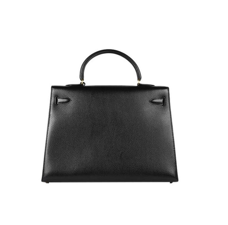 Women's Hermes Kelly 35 Black Leather Gold Carryall Top Handle Satchel Bag  For Sale