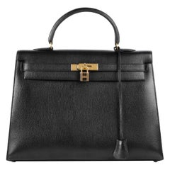 Hermes Kelly 35 Black Leather Gold Carryall Top Handle Satchel Bag
