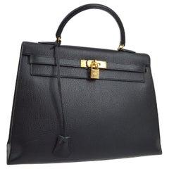 Hermes Kelly 35 Black Leather Gold Carryall Top Handle Satchel Tote Bag