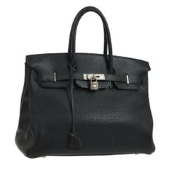 Hermes Kelly 35 Black Togo Leather Top Handle Satchel Shoulder Tote Bag