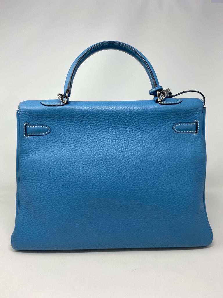 Hermès Kelly 35 Blue Jean  For Sale 9