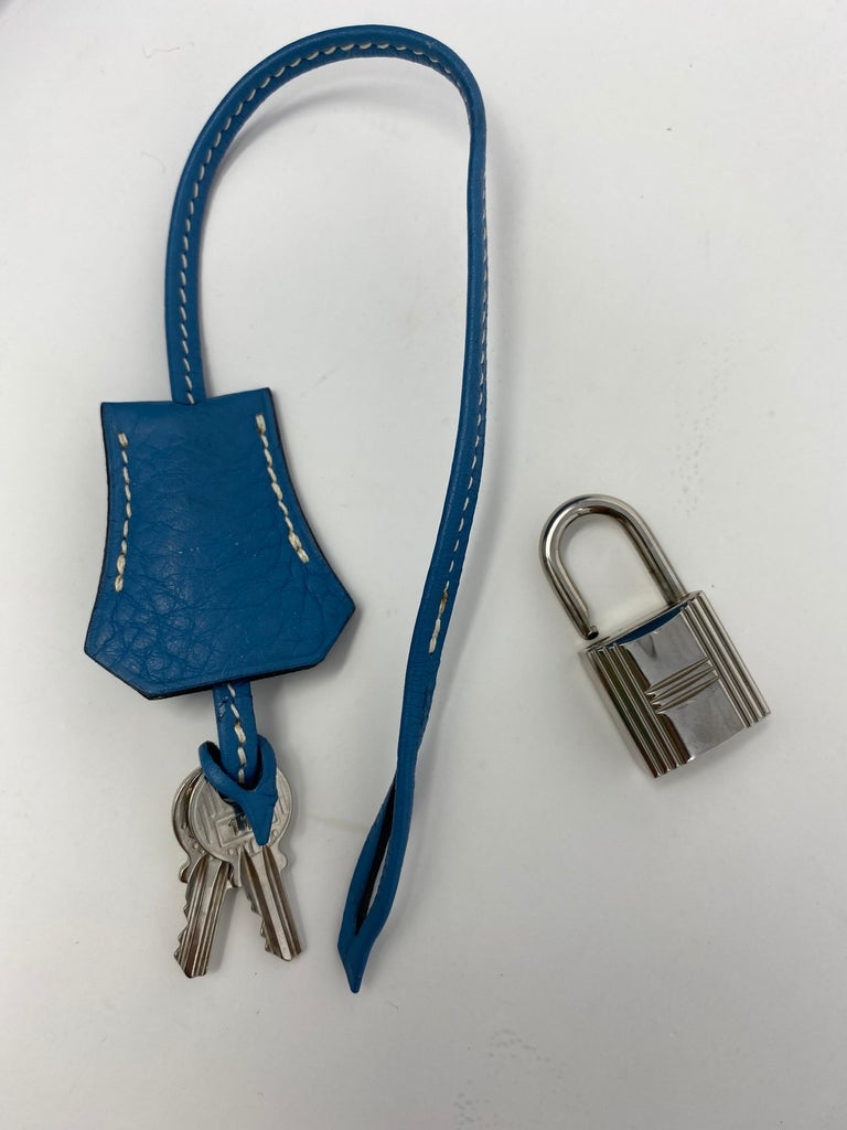 Hermès Kelly 35 Blue Jean  For Sale 11