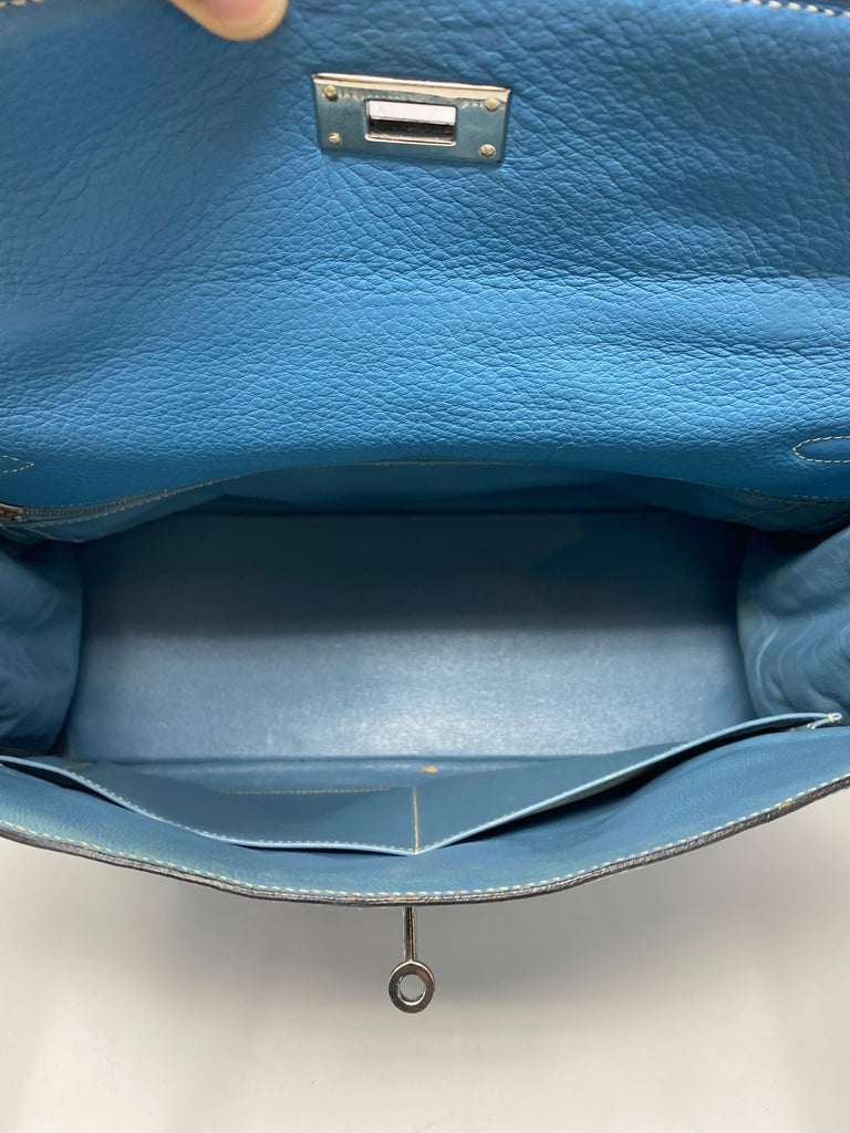 Hermès Kelly 35 Blue Jean  For Sale 1