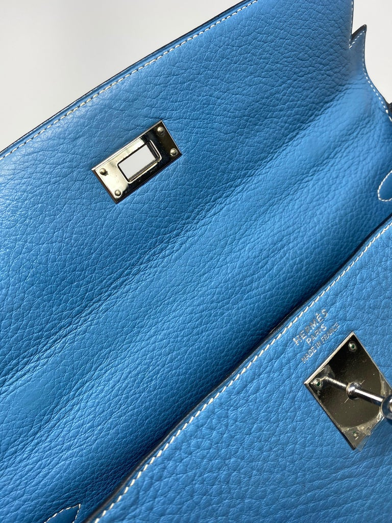 Hermès Kelly 35 Blue Jean  For Sale 5