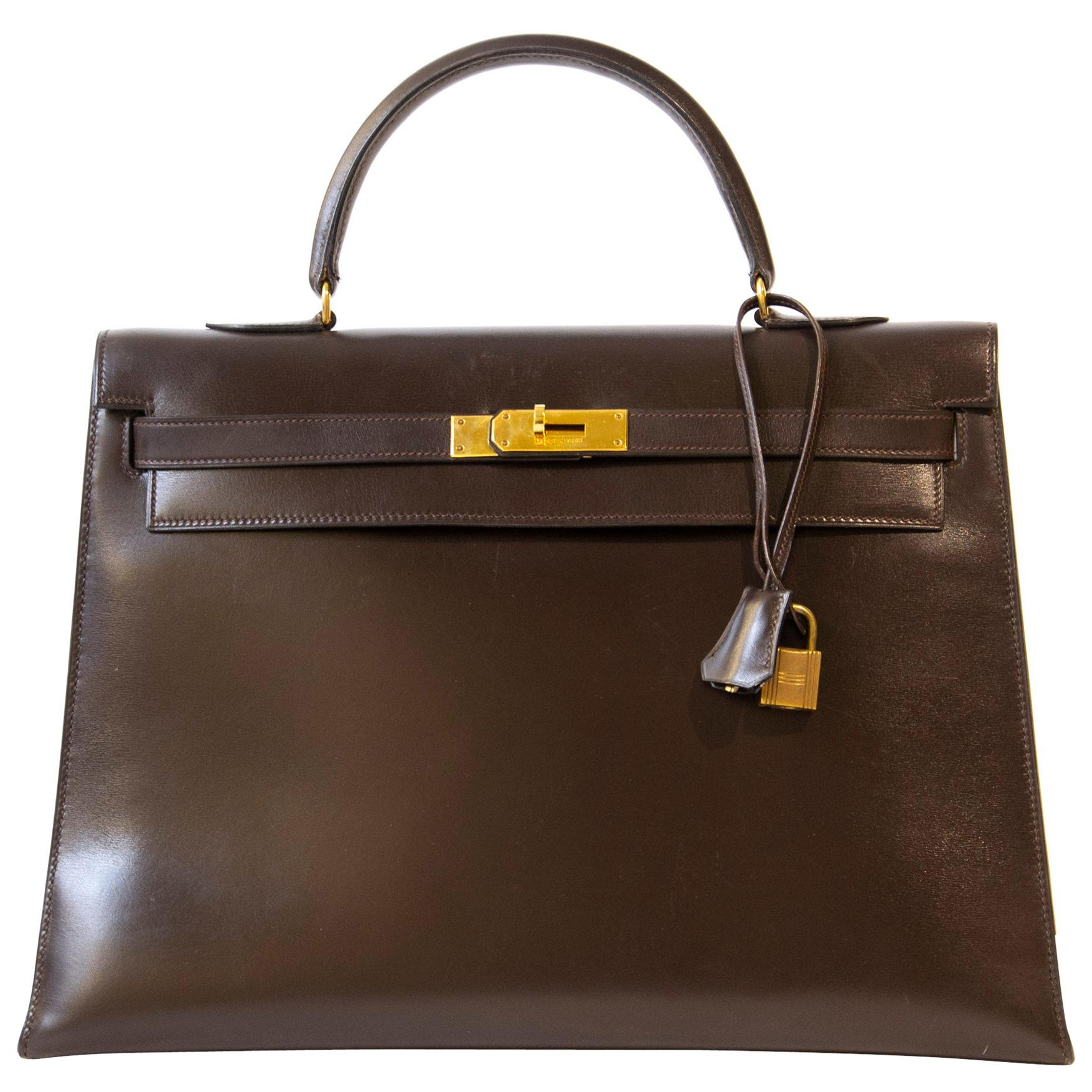 Hermès Kelly 35 Brown Boxcalf GHW