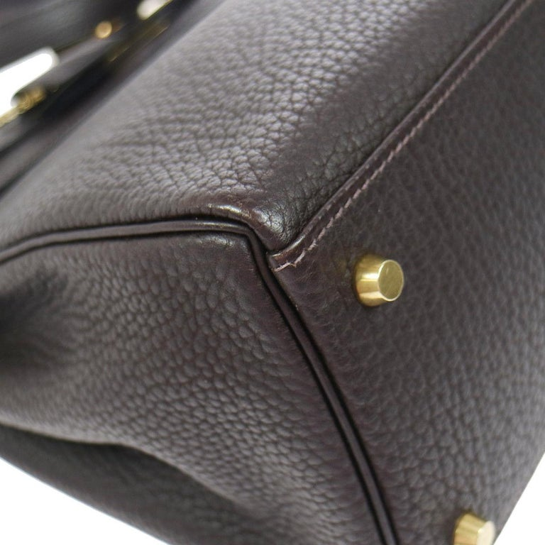 Hermes Kelly 35 Brown Leather Gold Top Handle Satchel Shoulder Bag in Box In Good Condition In Chicago, IL
