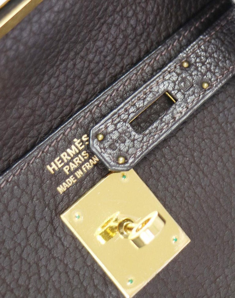 Hermes Kelly 35 Brown Leather Gold Top Handle Satchel Shoulder Bag in Box 2