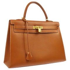 Hermes Kelly 35 Cognac Leather Gold Top Handle Satchel Flap Tote Bag